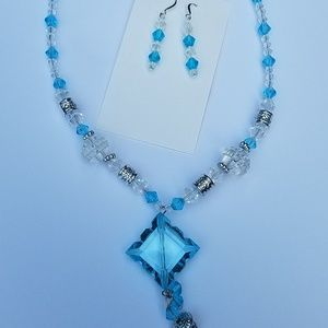 Jewelry - Clear/light blue handmade necklace and earring set